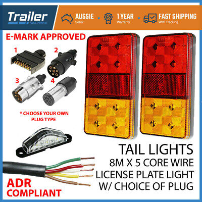 AU54.17 • Buy TRAILER LIGHT KIT PAIR 12-24v LED LIGHTS,1x PLUG, 5 CORE WIRE,NUMBER PLATE LIGHT