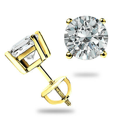 $54 • Buy 2.00ct Round Cut Created Diamond Earrings 14k Solid Yellow Gold Studs Screw-back