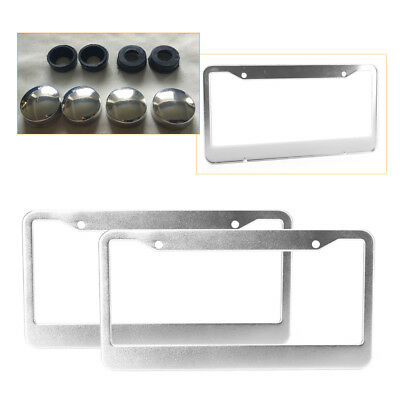 $7.64 • Buy 2PCS Chrome Stainless Steel Metal Car License Plate Frame Tag Cover W/Screw Caps