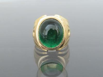 $162.94 • Buy Vintage 14kt Yellow Gold Over Emerald Cabochon & Diamond Men's Ring Size 7 To 12