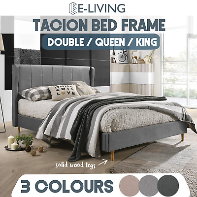 AU155 • Buy Wingback Upholstered Fabric Bed Frame In Solid Wood Frame Double Queen King