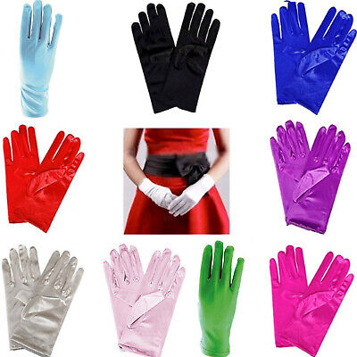 £3.99 • Buy Ladies Short Satin Gloves Opera Party Wedding Prom Womens FancyDress Accessories