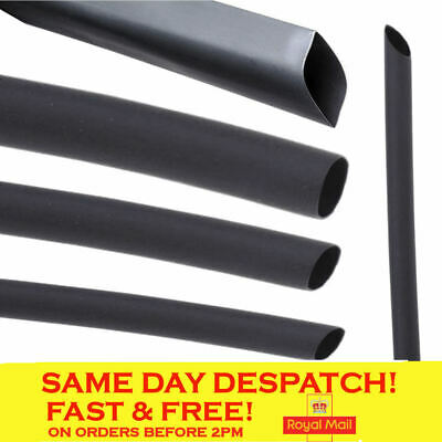 Black Heat Shrink Tube Sleeving Car Electrical Cable In Various Length & Sizes • 2.49£