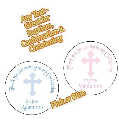 £1.65 • Buy Personalised Blue Pink Cross Christening Baptism Confirmation Party Sticker 1146