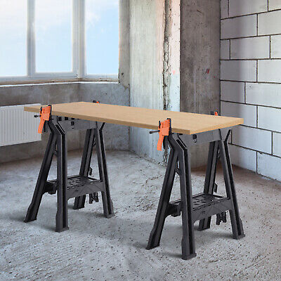 Foldable Clamping Sawhorse Trestle Twin Support Bars Cutting Stands Workbench • 49.99£