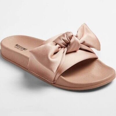 f28f5526989 Mossimo Supply Co. Women s Pink Julisa Satin Bow Slip On Slide Sandals NWT!  •