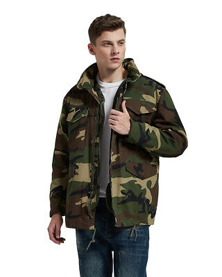 $85 • Buy Woodland Camo Military M65 Field Jacket With  Quilted Liner