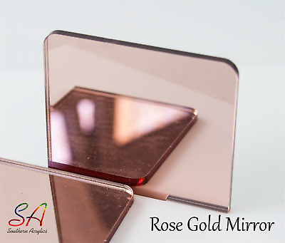Rose Gold Mirror Acrylic 3mm Thick Sheets Sample, A5, A4, A3, 200mm-600mm • 2.30£
