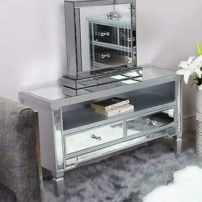 Silver Mirrored Television Cabinet TV Stand Unit Furniture Glass Chic Living  • 249.95£