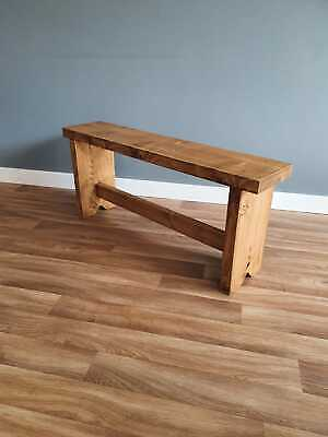 Handmade Rustic Chunky Wooden Bench Rustic Legs Kitchen/Dining/Garden • 56£