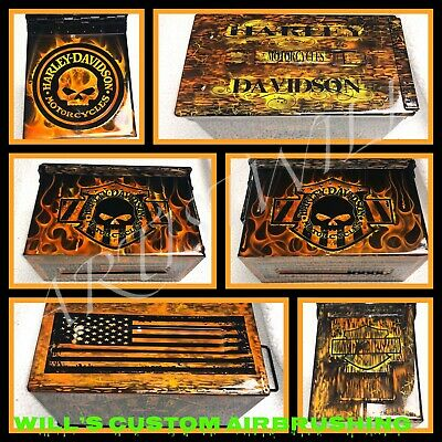 $75 • Buy Motorcycle 50 Cal M2A1 Military Ammo Can Custom Airbrushed (EMPTY)