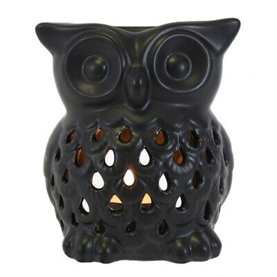 Cute Ceramic Owl Oil Burner Essential Aromatherapy Home Fragrance Black  • 8.45£