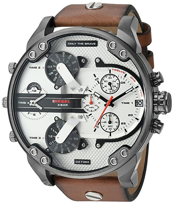 e056a4e1a5f5d Diesel Men's DZ7394 Mr. Daddy 2.0 Gunmetal IP Brown Leather Watch • 134.00$