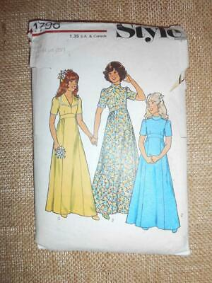 £5.99 • Buy Style 1724 Sewing Pattern 70s BRIDESMAID Flower Girl LONG DRESS 7-8yrs