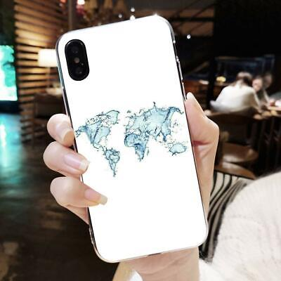 White World Map Soft Shockproof TPU Marble Phone Case For Huawei P20Lite IPhoneX • 2.13£