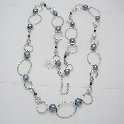 $ CDN17.64 • Buy Lia Sophia Signed Jewelry Silver Tone Long Faux Pearl Round Link Necklace Chain