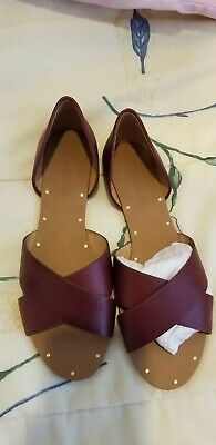 8a941afd4c0 Madewell  98 Dark Cabernet LEATHER Crisscross Sandals 8 Shoes • 69.99