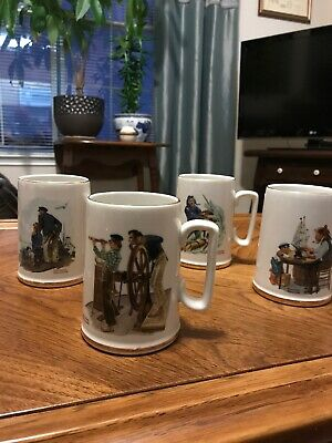$ CDN7.56 • Buy Norman Rockwell 4 Seafarer Mugs Tankards Nautical 1985 Museum Collection
