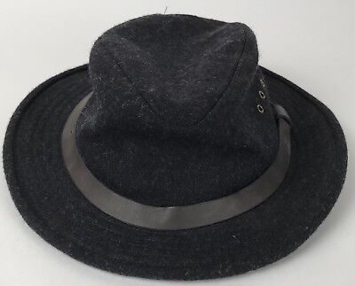 CC Filson 100% Wool Charcoal Gray Packer Hunting Fishing Hat Made In USA  Vintage • 29590e1a85db