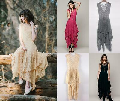 AU44.17 • Buy New Chic Sheer Floral Lace Beach Summer Wedding Maxi Dress Bloggers Fav Pretty