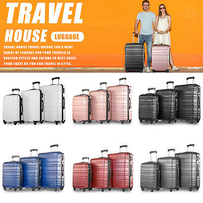 Hard Shell Trolley Suitcase 4 Wheel Lightweight Luggage Spinner Travel Case • 59.99£