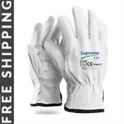 10 X White UNLINED Leather Driver Glove Lorry Drivers Safety Work Gloves • 8.99£