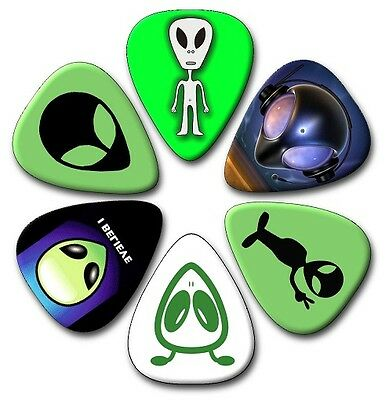 $ CDN4.90 • Buy 6 Alien ~ Guitar Picks ~ Plectrums   *PRINTED BOTH SIDES*