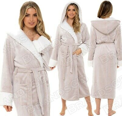 £14.95 • Buy Ladies Luxury Dressing Gown Shimmer Fleece Hooded Robe, Soft & Cosy Sizes 8-22