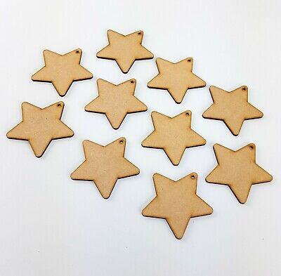 10x STARS Craft Shapes Wooden Gift Tag MDF Blank Bunting Wedding Favours NURSERY • 3.50£