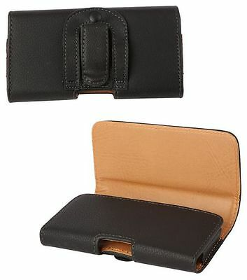 AU18.95 • Buy Nokia Lumia 925 Universal Side-Carry Leather Pouch In Black With Belt Clip/Loop.