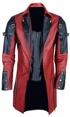 Mens Real Black Real Leather Jacket Gothic Matrix Trench Coat Steampunk Gothic • 119.99£