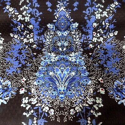 £5.95 • Buy Black Printed Flowers Textured Quilted Brocade Style Dressmaking Fabric