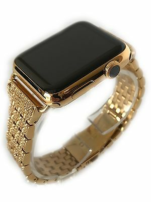 $ CDN917.38 • Buy 24K Gold Plated 42MM Apple Watch SERIES 2 Gold Links Band W Diamond Rhinestone