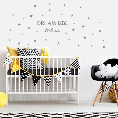 Dream Big Wall Stickers Little One Baby Boy Girl Nursery Bedroom Set Of 72 Stars • 29.98£