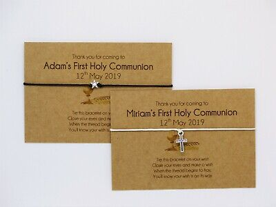 1st Holy Communion Favours Gifts. Personalised First Communion Bracelet & Card. • 1.55£