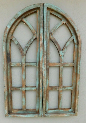 $ CDN54.12 • Buy 2 Wooden Antique Style Church WINDOW Frame Shutters Wood Gothic 36  Shabby Green