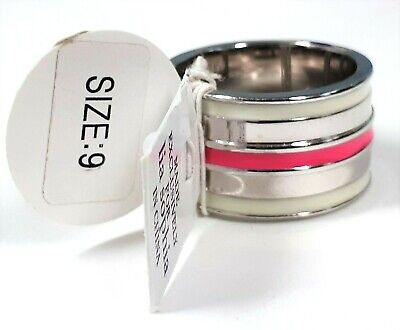 $ CDN9.49 • Buy Lia Sophia Fast Track Silver Tone Ring With Pink And White Stripe - Size 9 - New