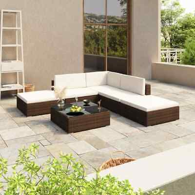 AU535.99 • Buy VidaXL Outdoor Lounge Set Brown Poly Rattan Couch Table Furniture Garden Sofa