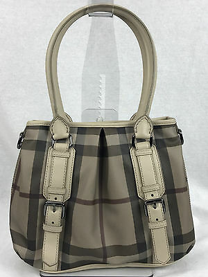 d4e14055ac82 New BURBERRY Smoked Check Small Northfield Tote Trench • 690.00
