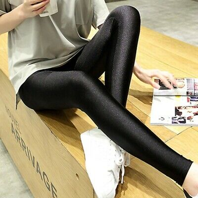 Women Faux Leather High Waist Leggings Wet Look Shiny Stretchy Black Tight Pant • 5.99£