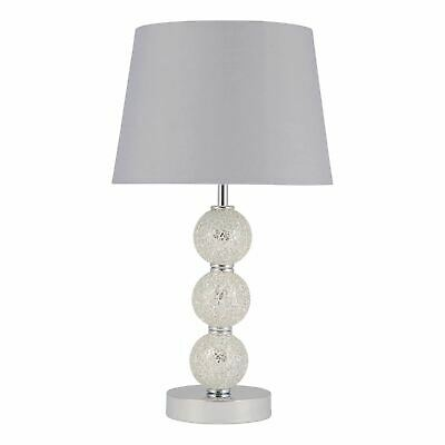 £24.99 • Buy Modern Bedside Light Table Lamp With 3 Ball Mirrored Mosaic Grey Shade