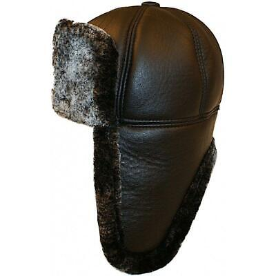 Authentic  Looking Russian Trapper Hat Faux Leather Aviator Pilot • 9.99£