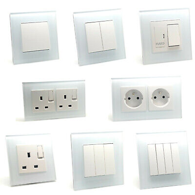 Illucio White Designer Lightswitches, Plug Sockets, Remote Touch, TV, Telephone • 12.95£