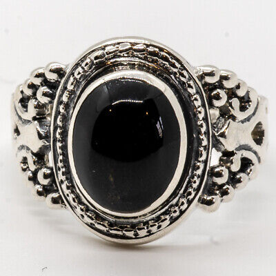 Onyx Natural Organic Ring 925 Silver Size M-R Ladies Feeanddave • 12.99£