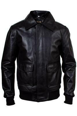 £80 • Buy Mens Real Leather Us Military Air Force Aviator A2 Black Bomber Jacket New