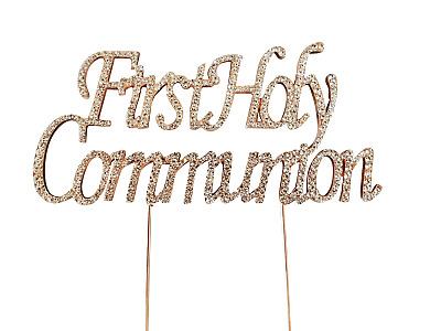 FIRST 1st HOLY COMMUNION CAKE PICK TOPPER DECORATION  DIAMANTE SPARKLY ROSE GOLD • 6.99£