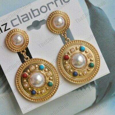 £4.99 • Buy CLIP ON RETRO 5cm Long EARRINGS Big GOLD FASHION Jewelled Clips CHUNKY Vintage