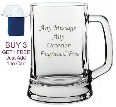 Personalised Engraved Pint Glass 18th 21st 30th 40th 50th 60th Birthday Gift • 8.95£