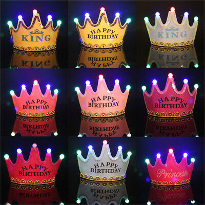 Prince Princess Crown Birthday Party LED Light Up Hats Cap Children Kids Adult • 5.49£