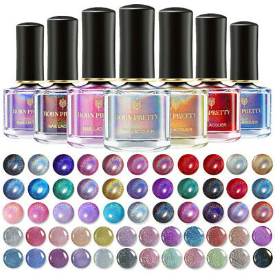 AU5.99 • Buy 6ml BORN PRETTY Silver Pink Holographicssss Nail Polish  Laser Varnish Tips